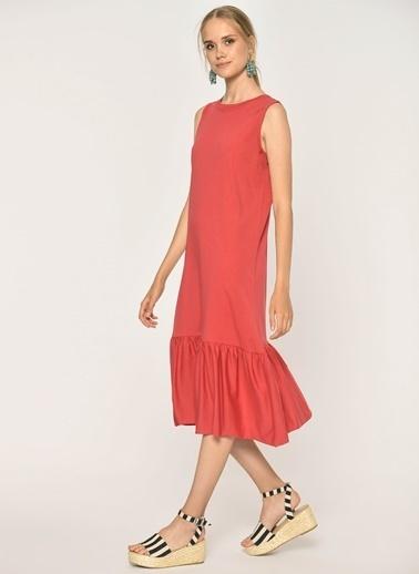 Loves You Eteği Fırfırlı Likralı Kolsuz Örme Elbise Kırmızı